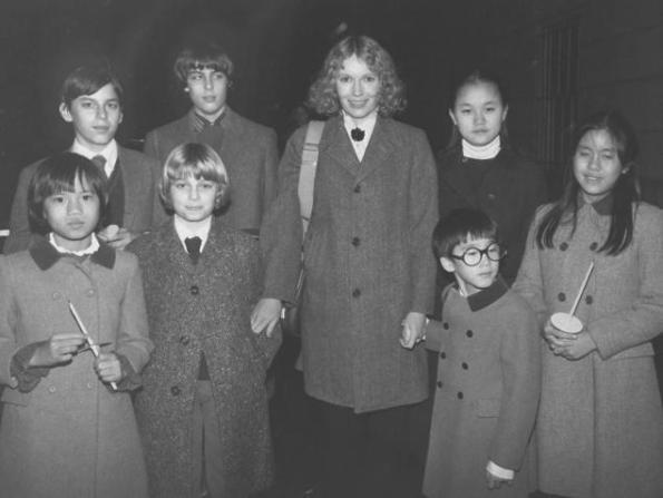Mia with her children (back row L-R) Matthew, Sascha, Soon-Yi; (front row L-R) Daisy, Fletcher, Moses and Lark