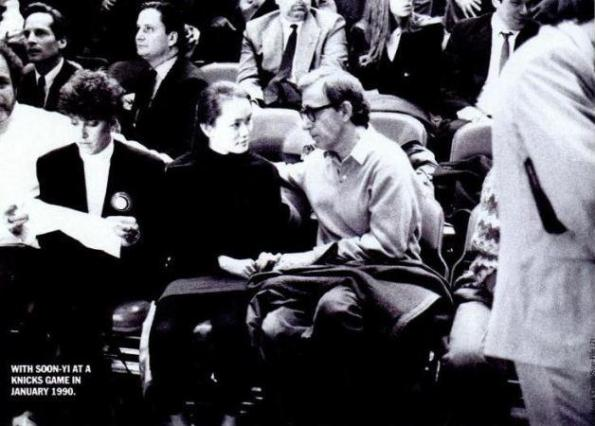 Soon-Yi Previn and Woody Allen at a New York Knicks basketball game in 1990