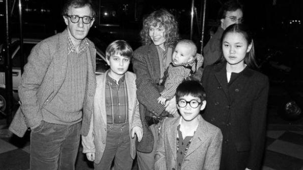 Woody, Fletcher Previn, Mia, Dylan, Moses and Soon-Yi, circa 1985
