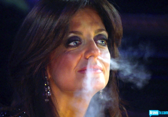kathy blowing smoke