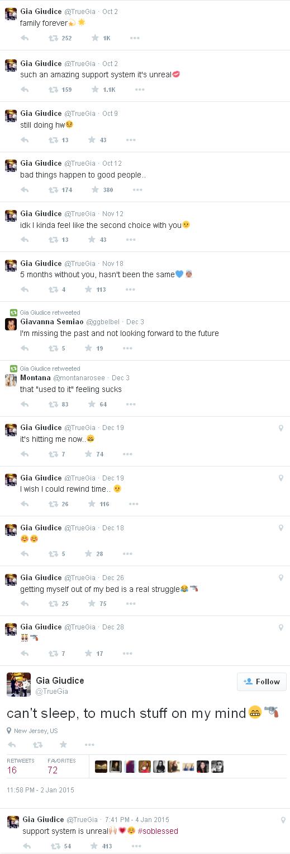 Gia's tweets