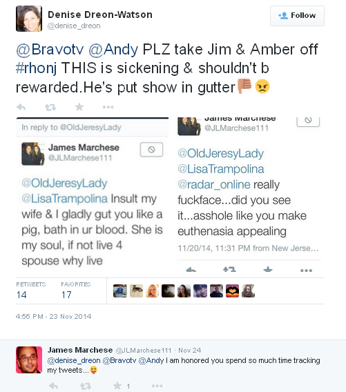 Jim's nasty tweets to oldnjlady