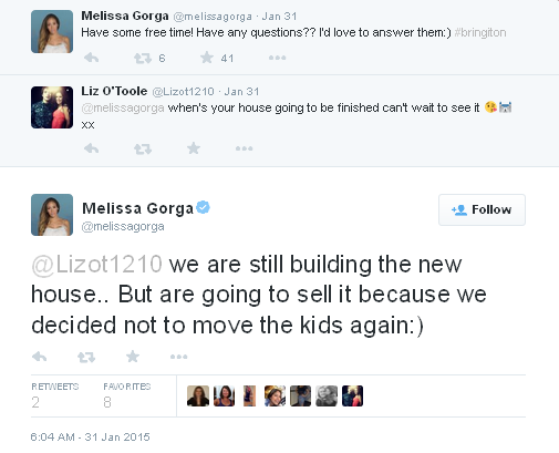 melissa still building new house