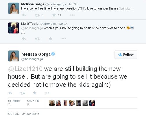 melissa still building new house